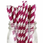 Striped Paper Straw 25pcs Metallic Fuchsia