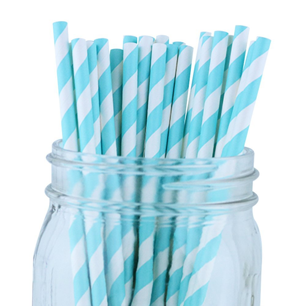 Striped Paper Straws (100pcs, Striped, Baby Blue)