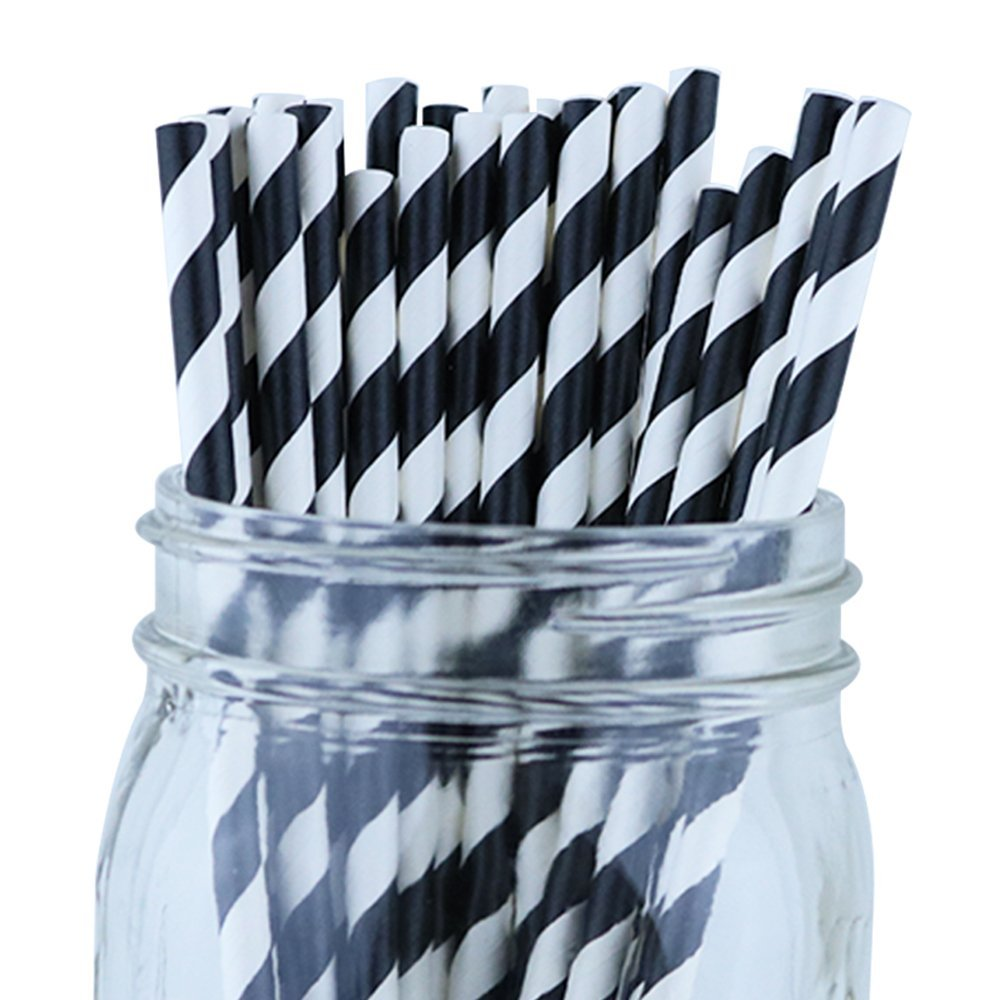 Striped Paper Straws (100pcs, Striped, Black)