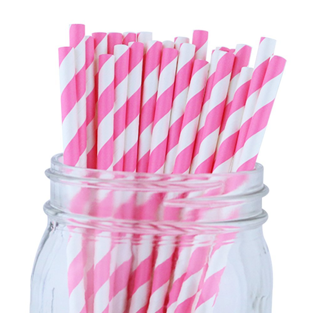 Striped Paper Straws (100pcs, Striped, Bubblegum Pink)
