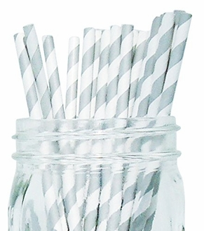 Striped Paper Straws (100pcs, Striped, Grey)