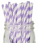 Striped Paper Straws (100pcs, Striped, Lavender)
