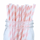 Striped Paper Straws (100pcs, Striped, Light Pink)