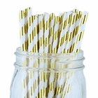 Striped Paper Straws (100pcs, Striped, Metallic Gold)