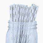 Striped Paper Straws (100pcs, Striped, Metallic Silver)