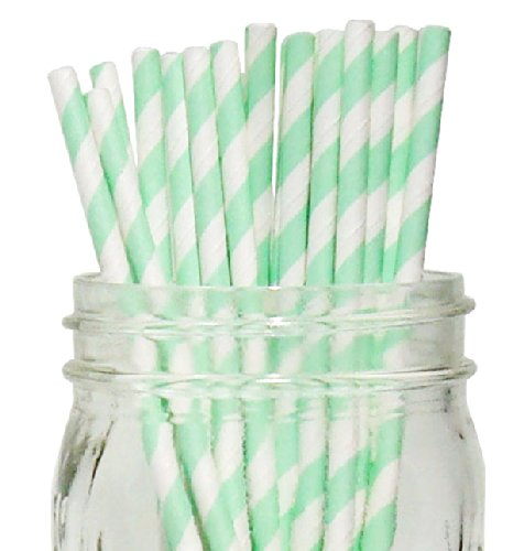 Striped Paper Straws (100pcs, Striped, Mint)