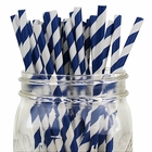 Striped Paper Straws (100pcs, Striped, Navy)