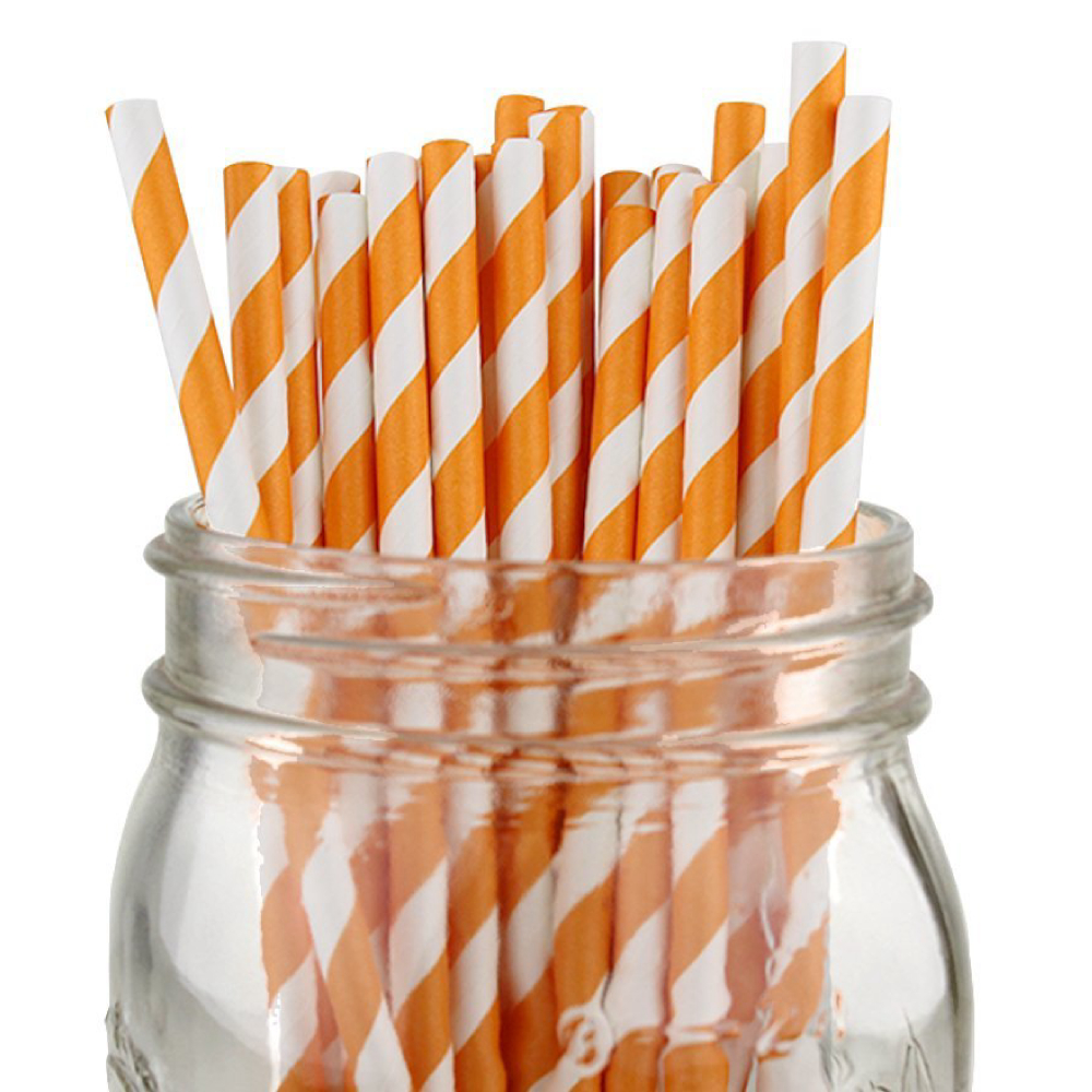 Striped Paper Straws (100pcs, Striped, Orange)