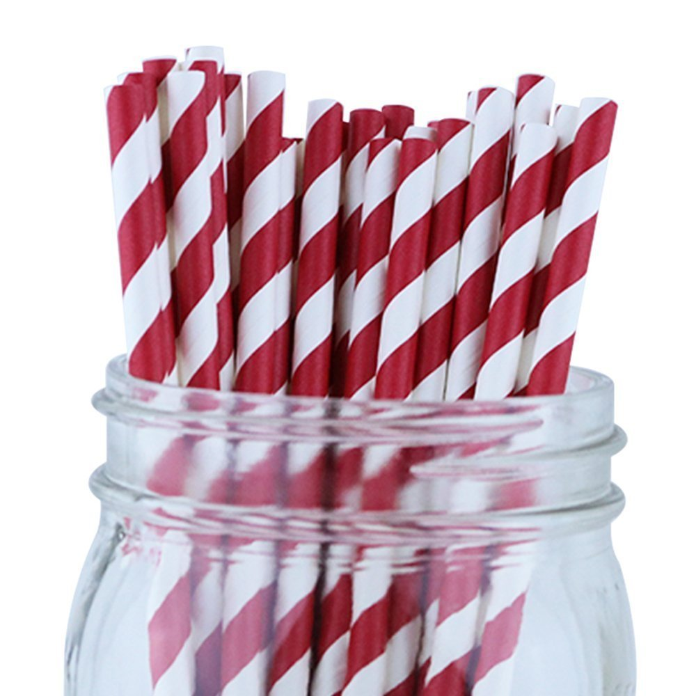 Striped Paper Straws (100pcs, Striped, Red)
