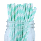 Striped Paper Straws (100pcs, Striped, Seafoam)