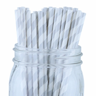 Striped Paper Straws (100pcs, Striped, Silver)