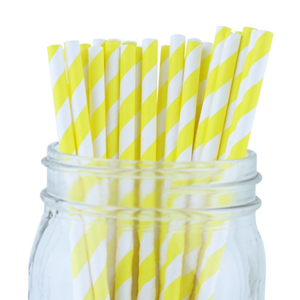 Striped Paper Straws (100pcs, Striped, Yellow)