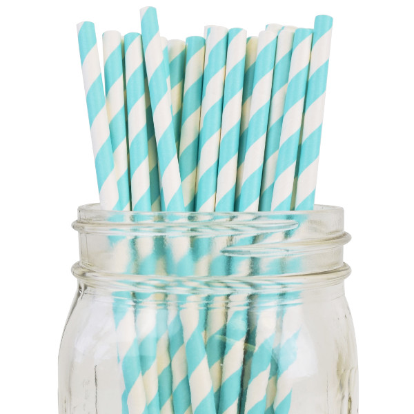 Striped Paper Straws 25pcs Aqua