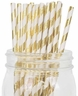 Striped Paper Straws 25pcs Metallic Gold