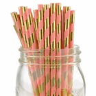 Striped Paper Straws 25pcs Metallic  Gold and Pink