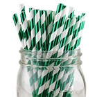Striped Paper Straws 25pcs Metallic Kelly Green