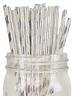 Striped Paper Straws 25pcs Metallic Silver