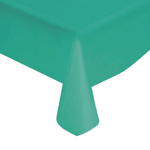 "Teal Solid Plastic Tablecloth 54"" X 108"""