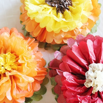 "Tissue Paper Flower 14"" Orange Lemon Chocolate"