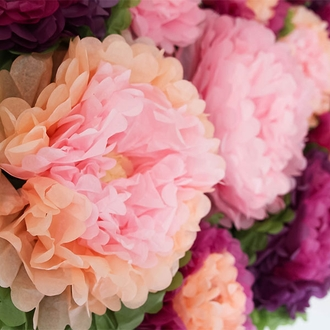 "Tissue Paper Flower 14"" Peach Carnation Pink Ivory"