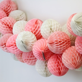 Tissue Paper Honeycomb Ball 6inch Salmon