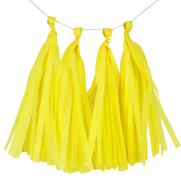 Tissue Paper Tassel Kit 4 Tassels Lemon Yellow