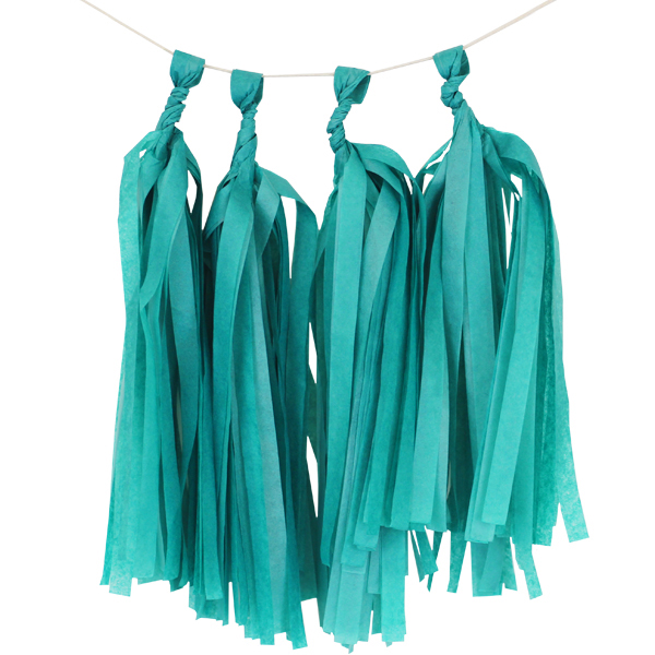 Tissue Paper Tassel Kit 4 Tassels Peacock Green