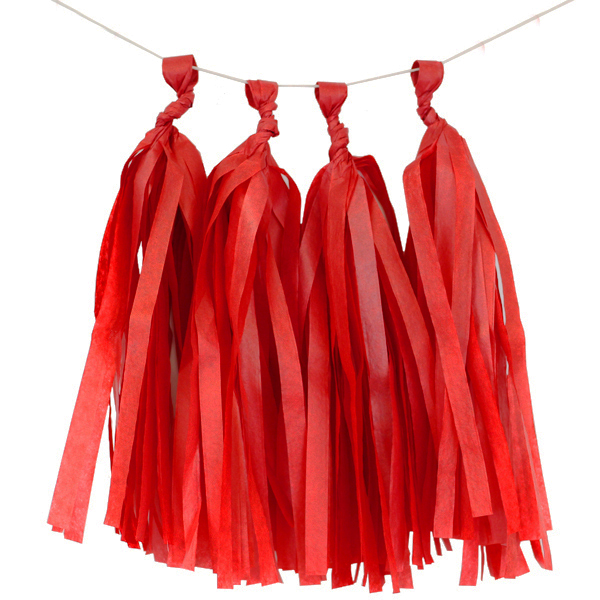 Tissue Paper Tassel Kit 4 Tassels Red