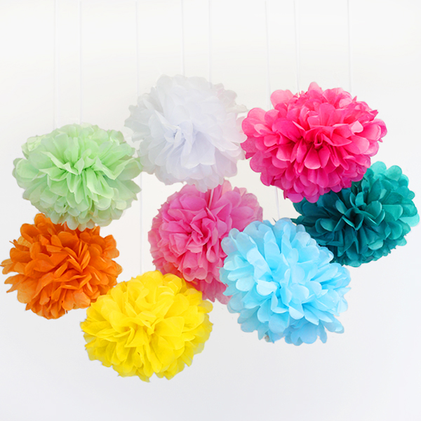 Tissue Paper Pom Poms 10inch 8 Assorted Color