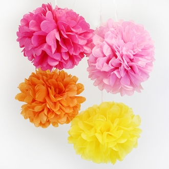 Tissue Paper Pom Poms 18inch 4 Assorted Color