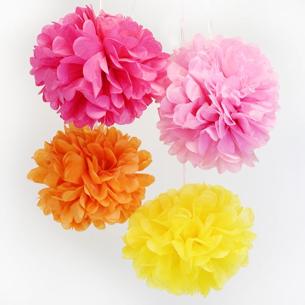 Tissue Paper Pom Poms 6inch 4 Assorted Color