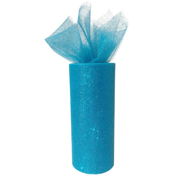 Tulle Fabric Roll 6in Glitter Aquamarine