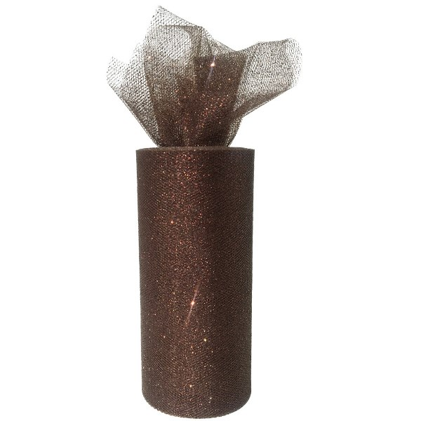 Tulle Fabric Roll 6in Glitter Chocolate