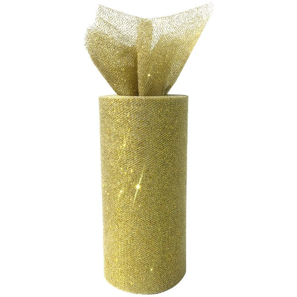 Tulle Fabric Roll 6in Glitter Gold