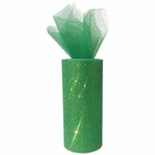 Tulle Fabric Roll 6in Glitter Kelly Green
