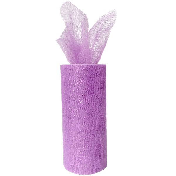 Tulle Fabric Roll 6in Glitter Lilac