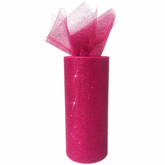 Tulle Fabric Roll 6in Glitter Magenta