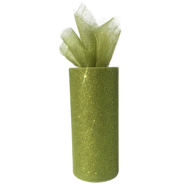 Tulle Fabric Roll 6in Glitter Olive