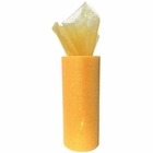 Tulle Fabric Roll 6in Glitter Orangesicle