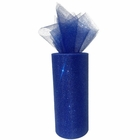 Tulle Fabric Roll 6in Glitter Royal Blue