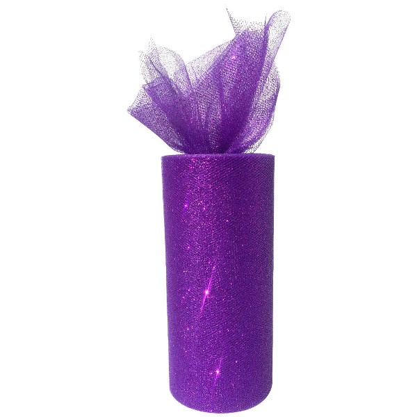 Tulle Fabric Roll 6in Glitter Royal Purple