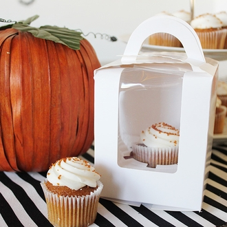 White Cupcake Box with Handle 5pcs