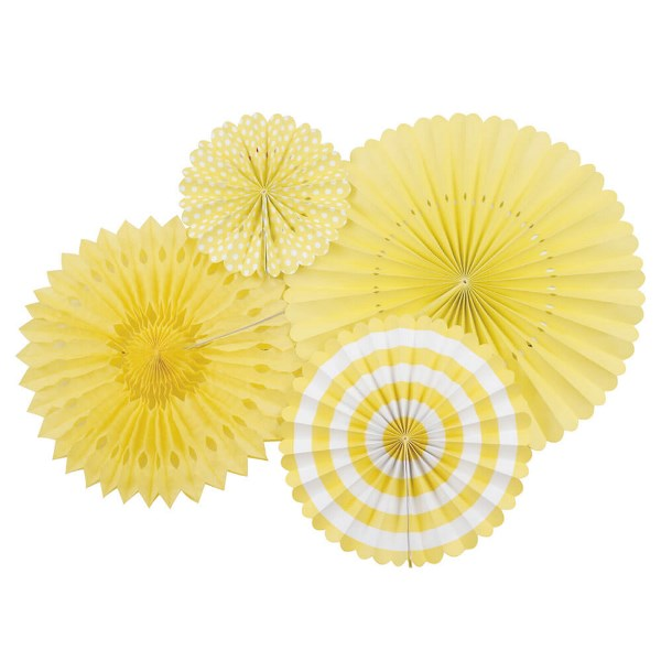 Yellow and White Tissue Fans and Pinwheel Decorating Kit
