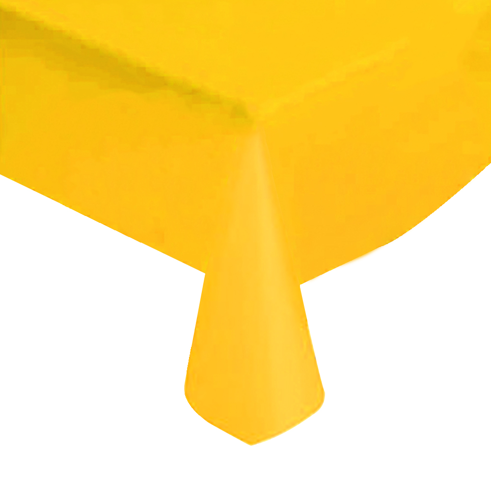 "Yellow Solid Plastic Tablecloth 54"" X 108"""