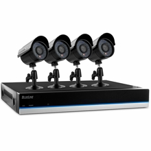 Defender BlueLine 4 Channel x 4 Camera DIY Security System with Real-Time Smartphone Viewing, 500GB Hard Drive & 75ft Night Vision