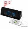 """Electrohome® USB Charging Alarm Clock Radio with Time Projection, Battery Backup, Auto Time Set, Dual Alarm, 1.2"""" Blue LED Display for Smartphones & Tablets (EAAC475)"""