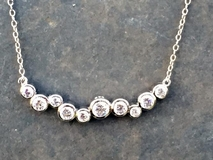 Curved Silver CZ Bubbles Necklace