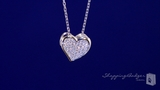"Petite Micro-Pave CZ Heart Necklace in Sterling Silver, 16"" or 18"""