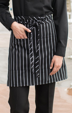 Cafe Chalk Stripe Divided Patch Pocket Half Bistro Apron