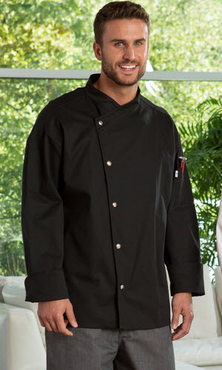 Caliente Single Breasted Stainless Steel Snap Buttons Poly Cotton Chef Coat